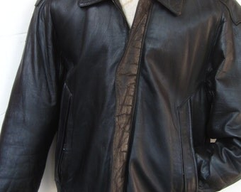 Vintage KENNETH COLE LEATHER Jacket-Black Lambskin Leather Multiple Pockets Heavy Duty Size Medium Men's Coat