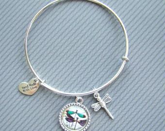 Expandable dragonfly bangle bracelet, adjustable bracelet, stackable bangle