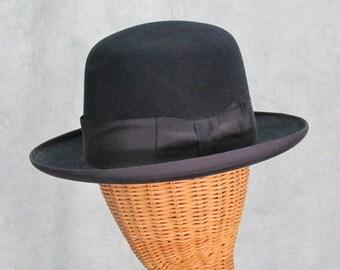 SALE 1920s Derby Vintage Hat Black Dobbs Fifth Ave Size M/L Bowler