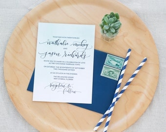 Wedding Invitation Set Deposit-Custom Hand Lettering-Romantic Watercolor Invitations-Modern Calligraphy Invites-Hand Lettered Invites