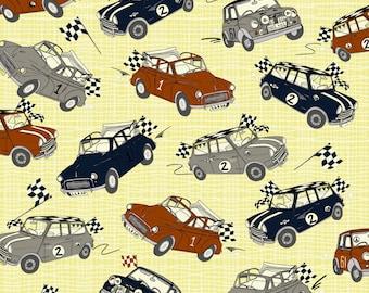 Patchwork Quilting Fabric Jane Makower Imprint Minis Morris Minor Retro Cars 6802 Y20