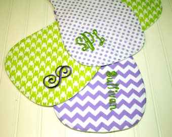 Personalized Baby Girl Burp Cloths - Personalized Burp Rags - Boutique Quality, Set of three Chevron, Quatrefoil, Dots, Lavender, Lime Green