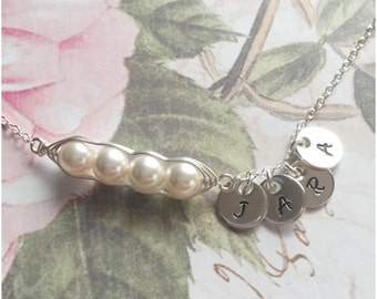 Sterling Silver 4 Peas in a Pod Personalized Hand Stamped Initial Necklace - Your Choice of Pearl Color and Initials - Swarovski Pearls