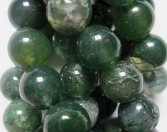 "Natural Moss Agate Beads - Round 8 mm Gemstone Beads - Full Strand 16"", 47 beads, A Quality"
