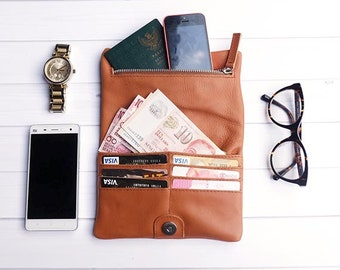 Tan Leather Wallet / Medium Leather Wallet / Classic Brown Leather Wallet / Classic Purse / Evening Bag / Everyday Purse / Organizer Wallet