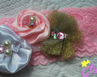 Baby Girl Pink and Gold Flower Headband