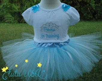 Princess In training baby girl tutu outfit, blue dress, going home outfit,newborn dress,baby girl blue tutu outfit