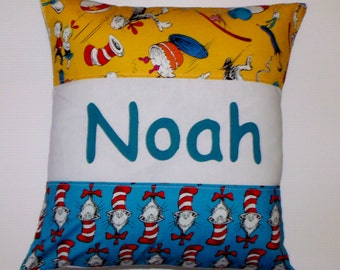Boys name cushion cover DR SEUSS Personalised gift  nursery/ bedroom throw pillow