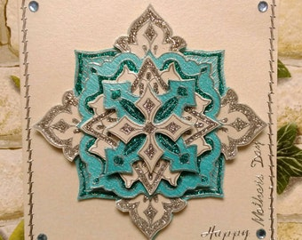 Mandala layered 3D Glittered Handmade Mother's day card.