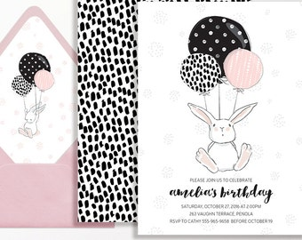 Bunny Birthday Invitation Rabbit Girls Pink Black White Script Modern Balloons Spot Printable Balloons Blush Girl 2nd 3rd 4th 5th 6th Party