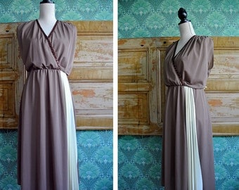 VINTAGE 80s Brown and Cream White Midi Dress with Copper Sequins Womens Medium