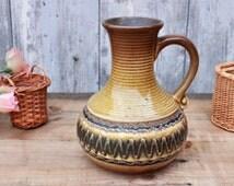 70s jug vase, German ceramics,brown pottery,rustic,cottage style,housewarming, wedding gift,flowervase,table decor,kitchen