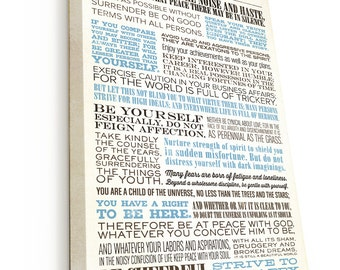 Desiderata, Desiderata Print, Hand-stretched Canvas on wooden frame, READY TO HANG, Canvas Gallery Wrap, by Max Ehrmann