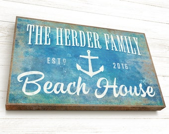 Personalized Beach House Sign, READY TO HANG, Beach House Gift, Canvas Gallery Wrap, Nautical Sign, Beach House Wall Decor, with Anchor