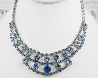 Vintage Rhinestone Statement Necklace Light Sapphire Blue Silver Tone Finish Bride Wedding Resale