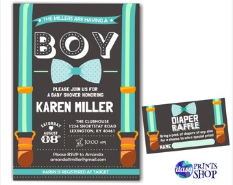 Little Man Baby Shower Invitation - Onesie Invitation - Shower invitation Baby Boy on this way Bow Suspenders Tie diaper raffle