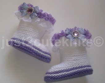 Hand Knitted Designer Baby Girl Booties Lots Of Lace Newborn Special Occasion Baby Shower Original Reborn Doll #36