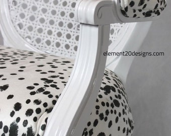 SOLD- Vintage cane dalmatian chair french louis chair black and white fabric animal print reupholster