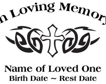 In Loving Memory Tribal Cross Christian God Decal Sticker
