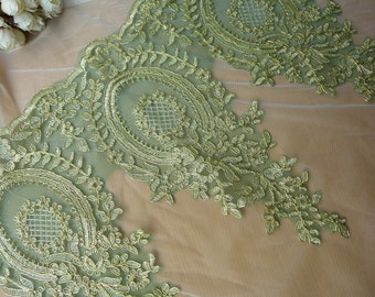 Green Mesh Lace Gold Embroidered Lace Trim for Appliqué, Sewing, Garments