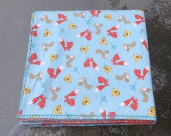 Woodland Animals in Coral and Aqua Flannel Receiving or Swaddling Blanket, Double Layer, 2 Layer Serged Blanket, Crib or Stroller Blanket