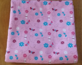 Pink Floral and Pink Checks - Extra Large Reversible Flannel Receiving or Swaddling Blanket, Double Sided Crib Blanket