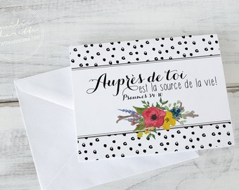 With you - French christian wish card - bible verse