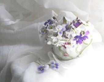 Art Print, Violets Still Life, Violets,  Floral, Teacup, Shabby Chic, Photography, Digital Art, Original, Home Decor, Wall Decor