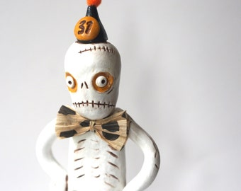 Halloween Skeleton with Bow Tie folk art sculpture