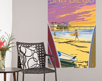 San Diego California Surfing Wall Decal - #60870