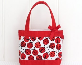 Mini Tote Bag / Girls Bag / Kids Bag - Ladybirds / Ladybugs / Ladybeetles