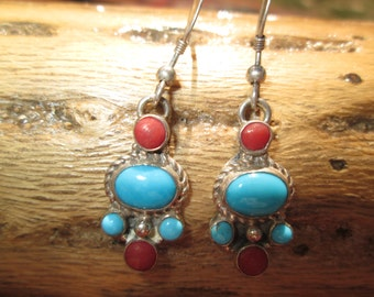 Petit Point Coral, Turquoise and Sterling Dangle Earrings