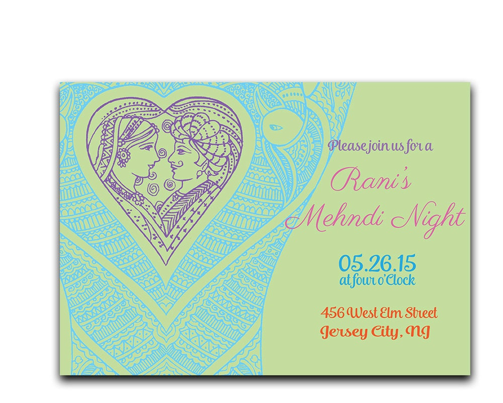 Mehndi Party Card : Mehndi party invitation henna ceremony
