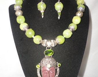 Exquisite Jade Serpentine And Peridot Woman Mask Pendant Necklace Set*******.