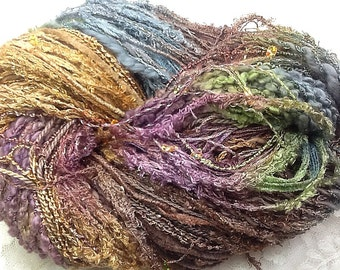 Art Yarn hand tied multifibers and ribbons, hand dyed 150 yds marble  knitting, scarf