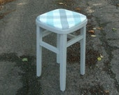 Gorgeous painted kitchen stool in grey with gorgeous fabric top in grey and duck egg