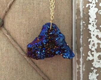 Blue Titanium Druzy Quartz Pennant Necklace