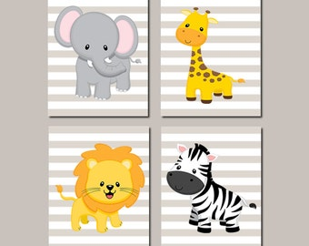JUNGLE Nursery Wall Art ELEPHANT Giraffe Lion Zebra  Zoo Safari Animals Baby Boy Nursery Decor Baby Shower Gift Set of 4 Prints Or Canvas