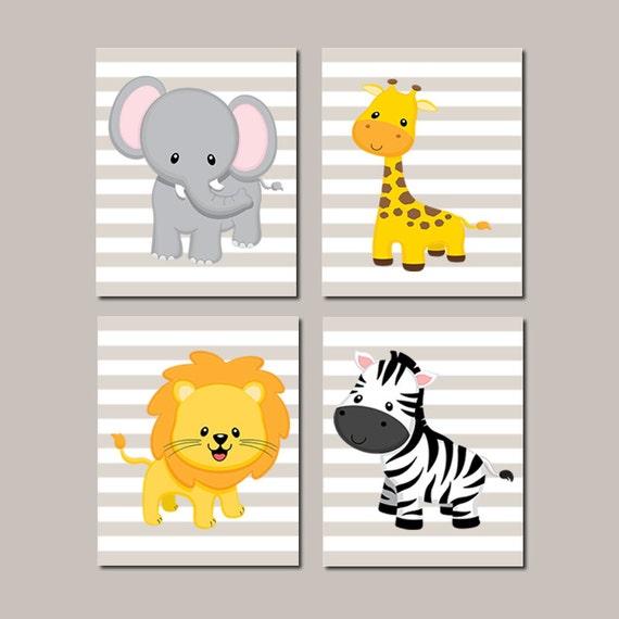 Jungle Nursery Wall Art Elephant Giraffe Lion Zebra Zoo