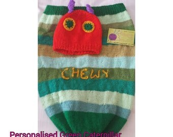 Green caterpillar hat and pouch set