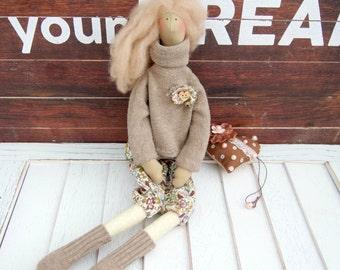 Fabric doll Interior doll Rag doll Handmade doll Tilda doll Soft doll Decor doll Cloth doll Gift for girls Baby doll Angel doll Fairy Plush