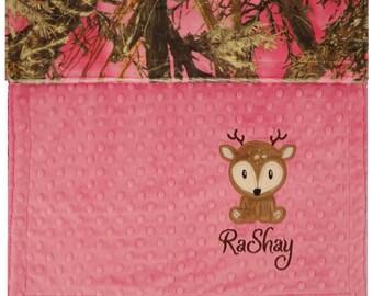 Deer Baby Blanket, Personalized Baby Deer Blanket,Woodland Baby Blanket. True Timer Baby Blanket, Hunting Baby Blanket