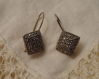 Sterling Silver and Marcasite Leverback Earrings for Pierced Ears