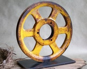 Vintage Industrial Cast Iron Pulley