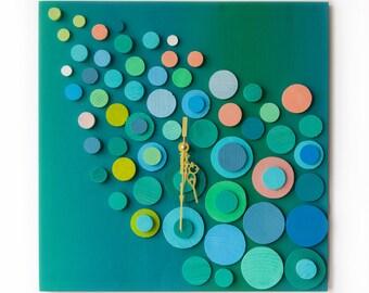 Deco Turquoise / Wood wall clock / Geometric Clock / Turquoise Mosaic Clock