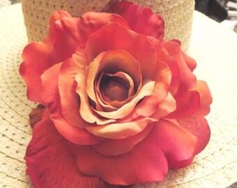 Pink  flower hat sun-Summer hat sun -Women's Wide Brim - Floral hat- Beach- Pool hat
