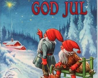 Swedish God Jul  Blue Sky Tomtar Ceramic Tile ~ Trivet ~ Hot pad #362-66