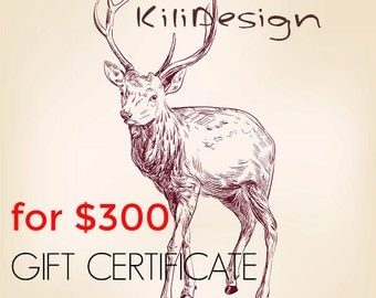 Gift Certificate for 300 usd for any item on Kilidesign shop - Gift Card- leather bags and shoes shop