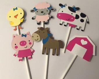 12 Girl Barnyard or Farm Themed Cupcake Toppers