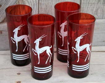 Set of Four Mid Century Anchor Hocking Ruby Red Gazelle Glass Tumblers